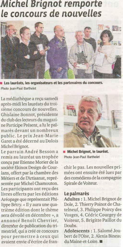 Le Progrès (Jura) - 26 octobre 2014