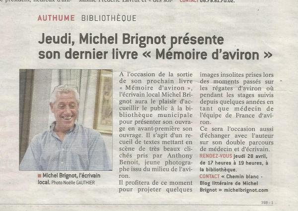 Mémoire d'aviron - Le Progrès - Dole (Jura) - 27 avril 2016