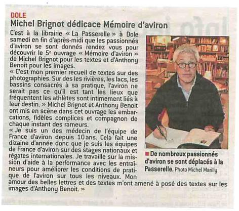 Le Progrès - Dole (Jura) - 4 mai 2016 Présentation de Mémoire d'aviron à la librairie La Passerelle