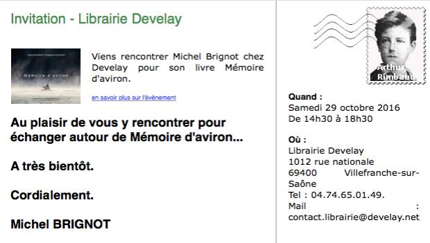 Invitation à la séance de dédicaces - Librairie Develay - Villefranche-sur-Saône