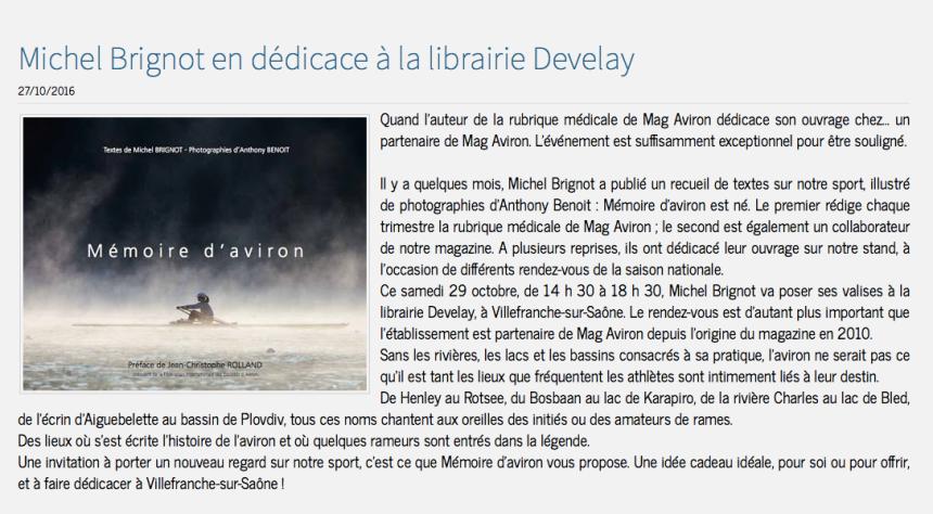 Mémoire d'aviron - Mag Aviron en parle - 27 octobre 2016