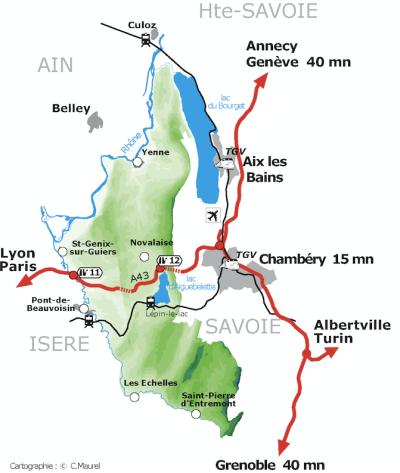 Plan d'accès à la Base Nautique d'Aiguebelette